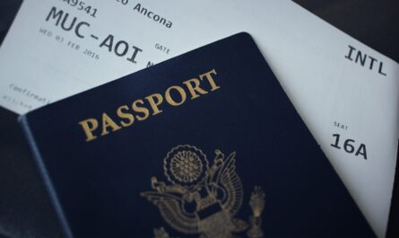 Letenky zasunuté v cestovní pasu.